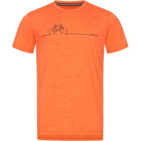 super.natural Bike Line Tee Men, tangerine tango melange/jet black